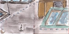 wie sich das Licht brach auf den Hallen, die das Land reich gemacht haben (raumoberbayern) Tags: sketchbook skizzenbuch tram munich münchen bus strasenbahn pencil bleistift ballpoint paper papier robbbilder stadt city landschaft landscape spring frühling summer sommer lake trip bavaria germany airport fall herbst dachfenster