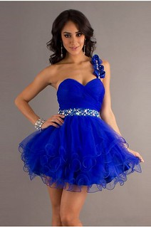 Timeless Crystal Detailing Beaded One Shoulder Prom Dresses 2013