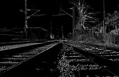 Night on the railway (Sappho et amicae) Tags: bw night canon atmosphere railway tush lowkey graphism eljkagavrilovi