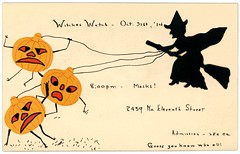 Witches Watch Halloween Party Invitation, October 31, 1914 (Alan Mays) Tags: old orange black men philadelphia halloween vintage cutout paper cards george women holidays faces watches pennsylvania antique pumpkins watching silhouettes parties drawings ephemera pa pasted margaret witches lettering 1910s 1914 printed handwritten invitations brooms jackolanterns handlettering 11thstreet glued eleventhstreet october31 broomsticks halloweenparties hunsicker witchswatch diecuts partyinvitations orkneystreet witcheswatch marghunsicker margarethunsicker