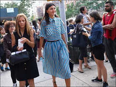 FW9-14  46w Giovanna Battaglia blue white and black stripped top with matching long skirt (The Urban Vogue) Tags: street nyc urban newyork fashion manhattan candid style september trends v blade chic marcjacobs uppereastside haute fashionweek streetstyle parkavearmory branstrom giovannabattaglia trending theurbanvogue bladefoto