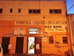 Peninsula Liquors (misterbigidea) Tags: store alley business liquor lettering sign backdoor delicatessen beer ssignpainter foundtype redwoodcity explore