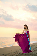 Shiori (Yuri Figuenick) Tags: ocean pink light sunset sea portrait sky woman art beach fashion japan canon asian eos japanese dress purple kamakura portraiture 5d shonan markiii longdress
