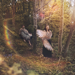 Harpies. (DanielCartwright.) Tags: people sun male bird birds female forest greek dawn surreal sunny portraiture creature mythology harpies protecter