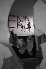 View Inside Something (Alyssa_Morton) Tags: red blackandwhite white black broken wall scary hole theend holes gross end