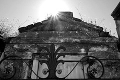 sunlit tomb (lucymagoo_images) Tags: new travel flowers light bw sunlight detail monochrome cemetery stone fence garden orleans louisiana iron lafayette district sony tomb illuminated nola sunlit rx100