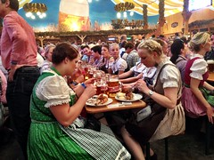 Local girls in their dirndl dress having a fair amount of food!
