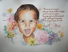 Watercolor commission (RafaCM...) Tags: portrait flores flower girl watercolor poem retrato super rafael calligraphy papel acuarela comino encargo matas verdiales alfacaligrafa