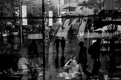 Pause For Thought (Places, Faces) Tags: street city light england people urban bw white black reflection london lines silhouette shadows britain candid scene robmchale