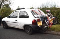 Corsa + C90 (Sam Tait) Tags: honda small rack moto motorcycle l vauxhall corsa learner c90