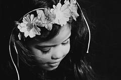 Sweet L. (Rita Silva [Parallax Photography]) Tags: flowers blackandwhite girl beauty childhood child wind sweet