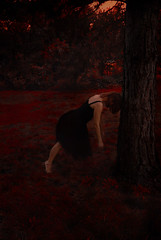 Road block (angelaugustina) Tags: life autumn red black art fall beautiful photography woods dress fineart story fantasy conceptual tough decision roadblock whimsical symbolism storytelling fineartphotography blackdress seasonschange
