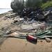Trash on Pulau Ubin: Fire extinguisher on large tarp