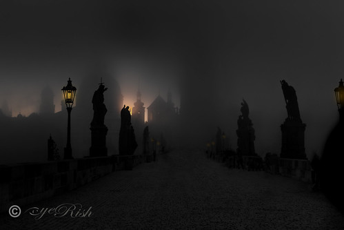 Prague - Sun Breaking Through A Foggy Mystical Morning
