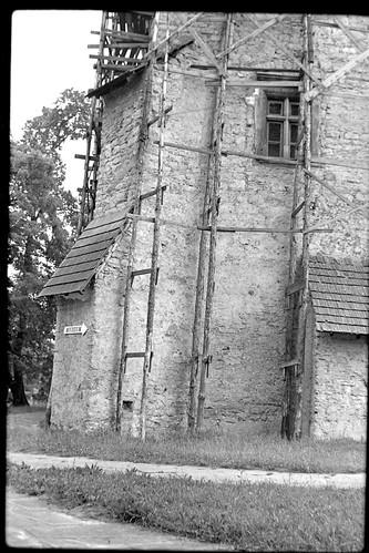 Zamek Szydłowiecki, wieża zamkowa w remoncie, lata 80-te, XXw.