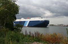 THEMIS LEADER, in New York, USA. Sept 2014 (Tom Turner - SeaTeamImages / AirTeamImages) Tags: nyc blue usa newyork water port harbor marine ship unitedstates harbour transport sh
