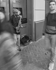 (LeavenworthObey) Tags: blackandwhite bw music motion movement louisiana neworleans streetphotography streetmusician bourbonst saxophonist thebigeasy tiltshift 2013 digitalzonesystem canoneos7d 17mmtsef4l jarobjortiz