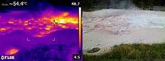 Yellowstone Thermal Image (Redbeard Math Pirate) Tags: heat infrared yellowstonenationalpark yellowstone geyser thermal hotsprings flir yellowstonepark lowergeyserbasin fountainpaintpots thermalimagery