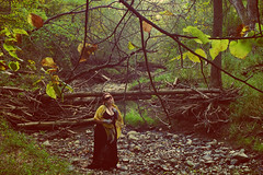 week 39 outtake (Opal in the rough) Tags: autumn trees portrait woman me nature leaves female forest self woods haunting shawl blackdress