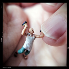 Manicure (peterphotographic) Tags: uk england macro london toy hand britain finger nail manicure mallet chisel e17 walthamstow eastlondon minifigures inthepalmofmyhand macromondays camerabag2 canong15 img2064cb2magbedwm