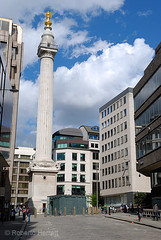 View of the recently restored Monument and surrounding office buildings in the City of London, England. The Monument commemorates the place where the Great Fire of London first started. (Roberto Herrett) Tags: city london monument vertical view whole cleaned restored complete stockphoto renovated greatfireoflondon rherrettflk