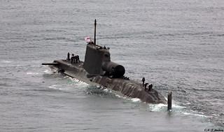 Royal Navy Astute-class HMS Astute (S119) departs HM Naval Base, Gibraltar
