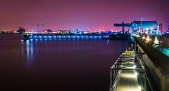 Cardiff Barrage (technodean2000) Tags: city water wales night marina lights bay nikon south cardiff penarth barrage lightroom d5200