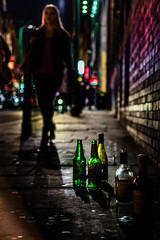 Two green bottles & a wall (PotterPics) Tags: life london night dark nikon midnight nightlife bricklane bethnalgreen