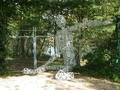 Bored (petrOlly) Tags: park sculpture fence germany deutschland europa europe handmade friday hff brueckenkopf juelich brueckenkopfpark fencedfriday happyfencedfriday