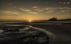 GOOD MORNING BAMBURGH (lynneberry57) Tags: sea sky seascape water clouds sunrise reflections rocks flickr northumberland bamburgh bamburghcastle lynneberry canon70d leendfilters