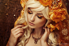 HANNY HONEYMOON (Hanny Honeymoon) Tags: portrait orange girl fashion gold winner headdress headpiece