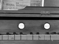Weald & Downland Open Air Museum (pefkosmad) Tags: bw music white black detail history church monochrome museum buildings keys tin sussex mono worship iron prefab kit tabernacle corrugated harmonium stops englanduk wealdanddownlandopenairmuseum southdownsnationalpark holidayvacationweekend