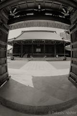 seeing from entrance gate (Takeshi Nishio) Tags: uv ilfordfp4plus nikonfm3a    16mmfisheye  ei125 spd1120deg7min filmno796