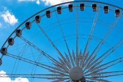 The Niagara Sky Wheel, Niagara Falls, Ontario (Mustang Joe) Tags: world blue sky ontario canada wheel lumix niagarafalls photo walk wide ferris niagara falls panasonic dmc 2014 kelby lx7 panasoniclumixdmclx7