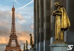 """""""Les oiseaux"""" @ Sunset (A.G. Photographe) Tags: sunset paris france statue french nikon eiffeltower toureiffel ag nikkor franais hdr parisian anto xiii parisien damedefer d810 lesoiseaux antoxiii agphotographe"""