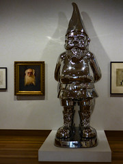 Beards (Steve Taylor (Photography)) Tags: gnome beard portrait shiny art sculpture picture painting fun metal man newzealand nz southisland canterbury christchurch city artgallery plinth