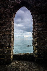 17th Century View (daedmike) Tags: scotland elie tower window seaside coast cathedralarch view stone water northsea
