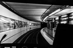 Full spead astern / my head spinning (Özgür Gürgey) Tags: 2016 50mm bw d750 hamburg nikon sternschanze u3 blur motion perspective rails tunnel germany lowlight grainy