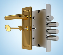 Door lock with key on blue background (coreybaker1) Tags: 3d access accessibility cgi chrome close closeup construction door doorknob entrance entry equipment gold handle home house icon illustration industry iron isolated key keyhole knob latch lock mechanism metal modern object office open padlock privacy protect protection reflection render safe safety secure security silver steel success system unlock white