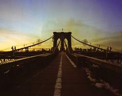 Brooklyn bridge before sunrise (swigadelica) Tags: mamiya7ii 120film film homedeveloping c41 digibasec41 sunrise manhattan newyork swigadelica swig 43mmf45 1 pushed portra400 brooklynbridge