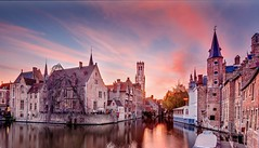 Bruges at Sunset (Barry O Carroll Photography) Tags: canal water reflection buildings flemish bruges brugge belgium belgique belfry beffroi belltower sunset dusk evening clouds city cityscape urbanlandscape travel architecture wideangle panorama