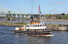 'Daniel Adamson' Runcorn old quay 22nd April 2017 (John Eyres) Tags: daniel adamson made her maiden voyage along full length ship canal manchester since completing restoration 2016 probably mid 80s when she was withdrawn from service has been this far up after languishing boat museum for years is seen passing old base runcorn quay where modern apartments now occupy site 220417 manchestershipcanal