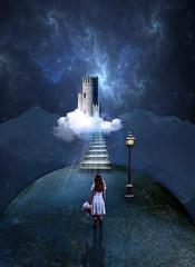 Castle in the Sky (Cat Girl 007) Tags: castle child clouds conceptual dark facingaway fantasty girl holding lamp photomanipulation staircase stairs standing steps surreal teddybear verticalimage
