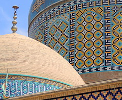 Close up beautiful mosque dome mosaics - Neishabur, Iran (Germán Vogel) Tags: asia westasia middleeast silkroad iran islamicrepublic muslimculture middleeastculture travel traveldestinations traveltourism tourism touristattraction landmark holidaydestination razavikhorasan khorasan neishabour nishapur mosque imamzadeh islam islamicart design pattern mosaic turquoise dome decoration khayyam omarkhayyam tile tilework architecture roof