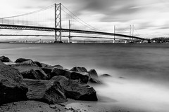 Forth Bridge 10 Stop Mono (MatMat Brown) Tags: 10stop longexposure blackandwhite bridge crossing firthofforth forthroadbridge monochrome queensferry scotland slowshutter spring