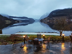 Early morning view from Hotel Brakanes in Ulvik, Norway