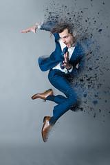 Happy Feet v3 (HOtography by Simon Ho) Tags: dancer maledancer jump leap businesssuit businessman explode disperse dispersion bluesuit disolve