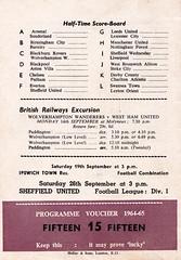 West Ham United vs Tottenham Hotspur - 1964 - Back Cover Page (The Sky Strikers) Tags: west ham united tottenham hotspur spurs football league division one upton park boleyn ground official programme 6d