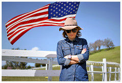 Country girl (istergio) Tags: usa country jeans flag countryside girl sunglasses