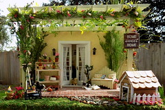 In the Doghouse (TutuBella) Tags: pergola garden goodmorning patio flowers paperflowers pottingbench puppies dog doghouse 112scale handmade